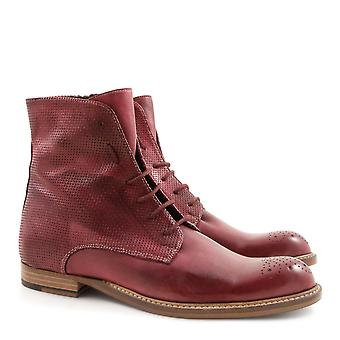 Handmade women's red leather flat mid-calf boots