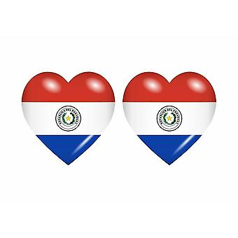 2x Stick klistermärke flagga hjärta PY paraguay