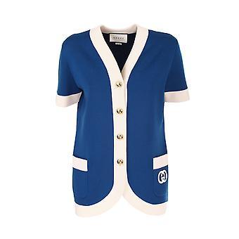 Gucci 599254xka4a4492 Damen's Weiß/blau Wolle Strickjacke