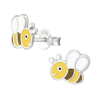 Bee - 925 Sterling Silver Colourful Ear Studs - W38265x