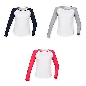 Skinnifit Womens/Ladies Long Sleeve Baseball T-Shirt