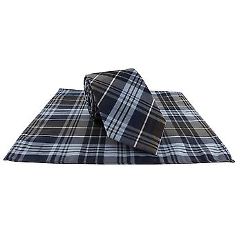 Michelsons of London Country Check Tie and Pocket Square Set - Brown