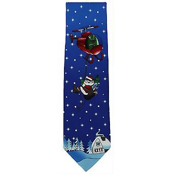 Michelsons Londyn Flying krawat poliestrowy Santa Claus - niebieski