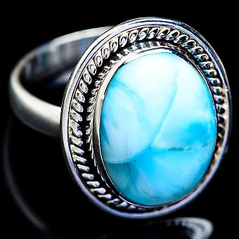 Larimar Ring Size 9 (925 Sterling Silver)  - Handmade Boho Vintage Jewelry RING5005