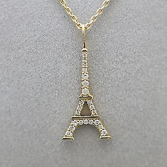 Necklace Eiffel Tower 18K Gold and Diamonds - Yellow Gold
