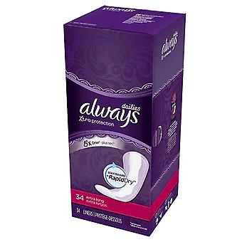 Always xtra protection daily liners, extra long, unscented, 34 ea