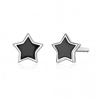 Silver Earrings Black Star - 6535