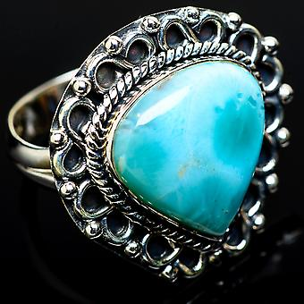 Larimar Ring Size 8 (925 Sterling Silver)  - Handmade Boho Vintage Jewelry RING11650