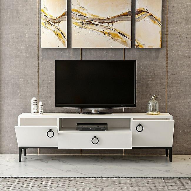 Mobile TV Port Moon Color White, Noir en puce melaminique, Métal, L150xP37xA45 cm
