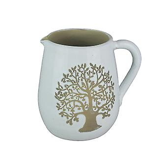 White Ceramic Vintage Finish Family Tree Design Decorative Pitcher