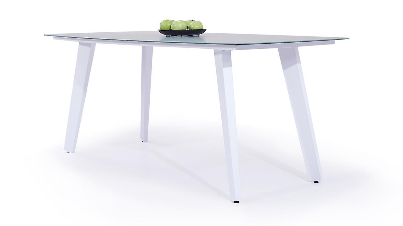 Alu Esstisch Milchglas 180 cm - weiß