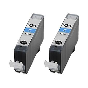 RudyTwos 2x Replacement for Canon CLI-521C Ink Unit Cyan Compatible with Pixma IP3600, IP3680, IP4600, IP4680, IP4700, MP540, MP550, MP560, MP620, MP630, MP640, MP980, MP990, MX860