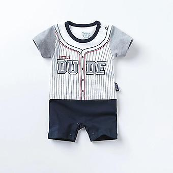Baby Boys Short Sleeve Little Dude Cotton Romper