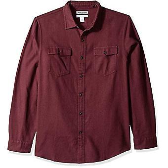 Essentials Men's Slim-Fit Long-Sleeve Solid Flannel Shirt, Burgundy He...