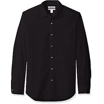 Essentials Men & apos;s Slim-Fit Long-sleeve Solid Poplin Shirt, أسود...
