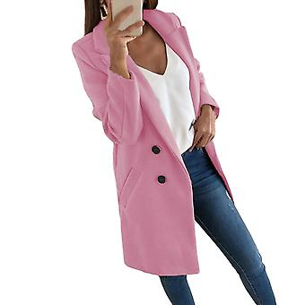 Womens Plus Size Woollen Long Winter Outwear Trench Coat