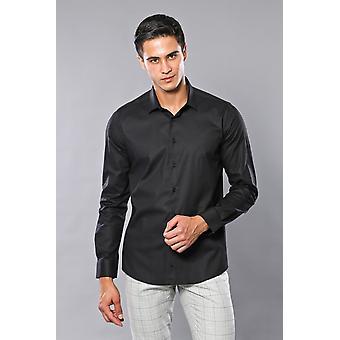 قميص أسود عادي نحيف | wessi
