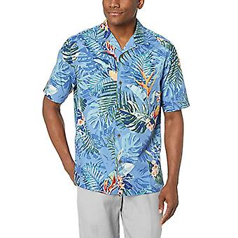 28 Palms Men's Relaxed-Fit 100% Cotton Tropical Hawaiian Shirt, Blue Bird of ...