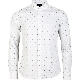 Armani All Over Letter Logo Slim Fit Shirt