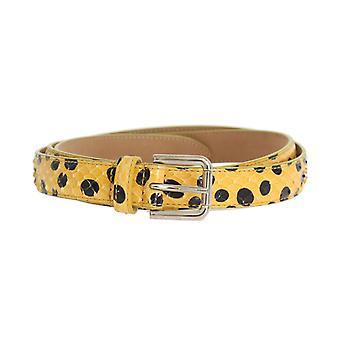 Yellow snakeskin silver buckle belt