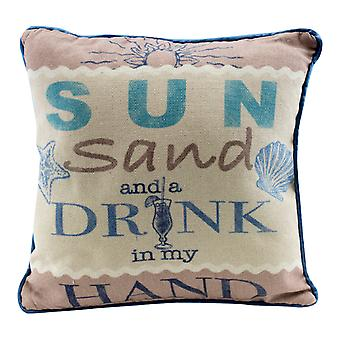 Sun Sand and Drink in My Hand 12 Inches Natural Decorative Beach Throw Pillow