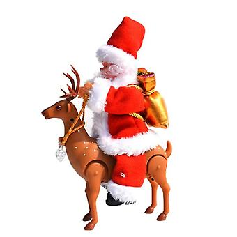 Christmas Festival Style Toy- Cute Santa Claus With Elk Plastic Cloth Material Moving Voice Funny Safety Decoration (as Show)