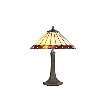 2 Lampada da tavolo ottagonale leggera E27 con 40cm Tiffany Shade, Ambra, Cristallo, Ottone Antico Invecchiato