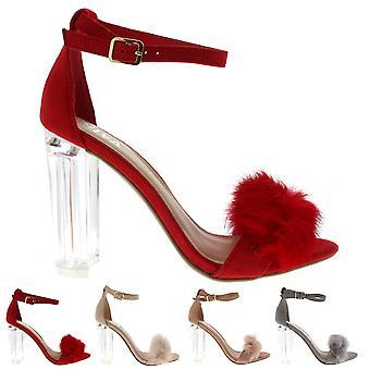 Womens pluizig glazen blok hiel partij knip mode hoge hakken Pumps UK 3-8