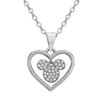 Mickey Mouse Silver Plated Brass Stone Heart Pendant Necklace