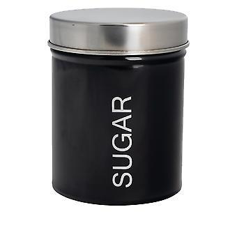 علبة السكر المعاصرة - الصلب مطبخ مخزن العلبة مع ختم المطاط - أسود