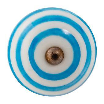 Nicola Frühling Keramik Schrank Schublade Knopf - Streifen Design - hellblau
