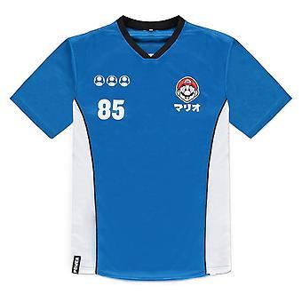 Nintendo Super Mario Bros Mario 85 Sports Jersey T-Shirt Homme X-Large Bleu/Blanc