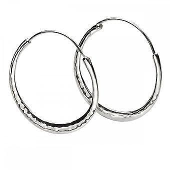 Beginnings Sterling Silver Hammered Hoop Earrings E5770