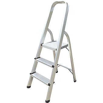 Hyfive aluminium step ladder 3 step - non slip treads made from lightweight aluminium heavy duty steel, portable with anti-slip feet