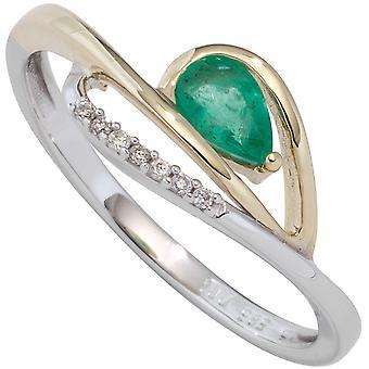 Kvinnors Ring 585 VitGult Gult Guld bicolor 1 Smaragdgrön 7 Diamanter Brilliant