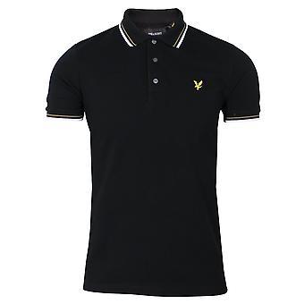 Lyle & scott men's jet black and white tipped polo shirt