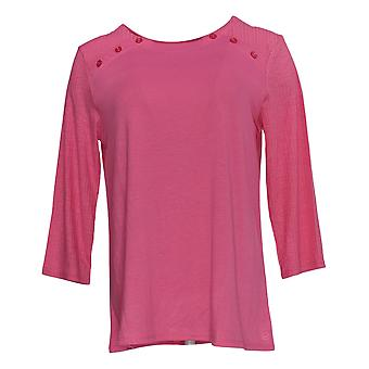 Cuddl Duds Women's Pajama Top Classic Jersey Crew Neck Pink A381599