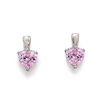 Elemek Arany 9ct Fehér Arany Létrehozott Rózsaszín Zafír & Diamond Szív fülbevaló és nyaklánc Női és apos; ékszer szett