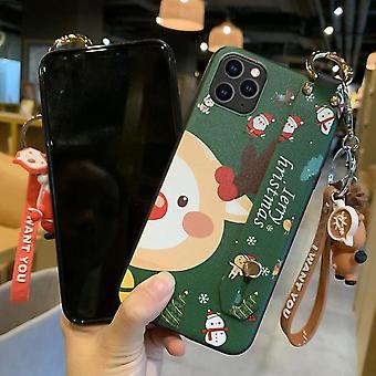 iPhone 11クリスマスシリーズの塗装パターンTPUケース用 リストバンドホルダー&ペンダント(グリーンサンタクロース+雪だるまバックル)(グリーンサンタクロース+スノーマ)