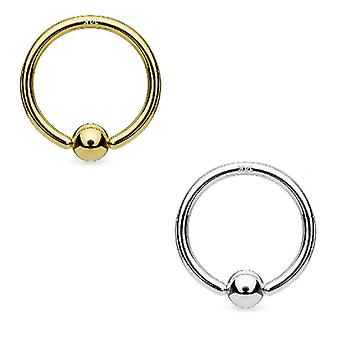 Hoop ring 14k solid white gold and yellow gold with fixed ball nose ring nipple