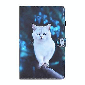 För Samsung Galaxy Tab A 10.1 (2019) T510 / T515 Färgad Teckningssömning Horisontellt Flip läderfodral med hållare & Kortplatser(Blåögd vit katt)