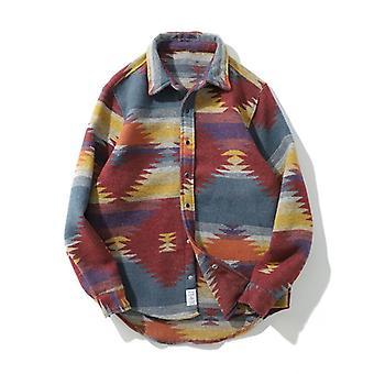 Hip Hop Tie Dye Snap Button Long Sleeve Shirts, Men Casual Streetwear Dress