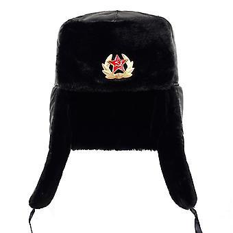 Sovětská armáda vojenský odznak Rusko Ushanka Bomber Klobouky Pilot Trapper Trooper Hat