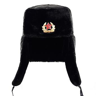 Soviet Army Military Badge Russia Ushanka Bomber Hats Pilot Trapper Trooper Hat