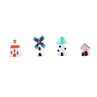 4pcs Durable Miniature Windmill Cottage House for Home Decor Ornament