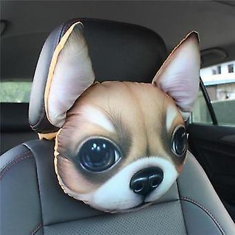 3d Printed Schnauzer Teddy Dog Face Car Headrest Neck Rest Auto Neck Pillow