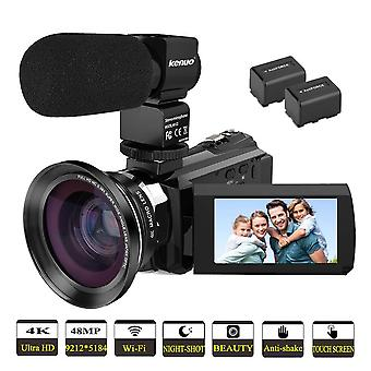 Video camera 4k camcorder kenuo full hd 60fps wifi vlogging camera 48mp 3.0 inch touch screen ir nig