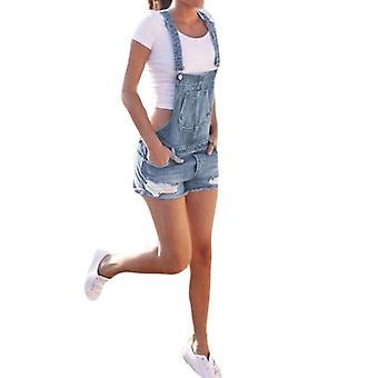 Short High Waist Casual Jeans Playsuit Washed Salopette Straps Summer Romper