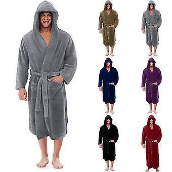 Winter Men Solid Plush Gruby Wydłużony szlafrok