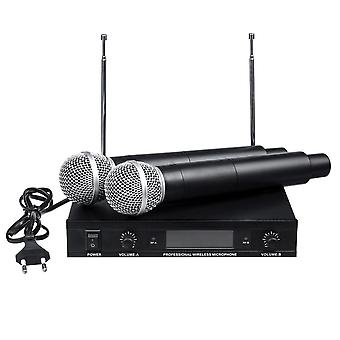 220V Wireless UHF 2 Channel Dual Handheld Microphone Mic System Karaoke KTV